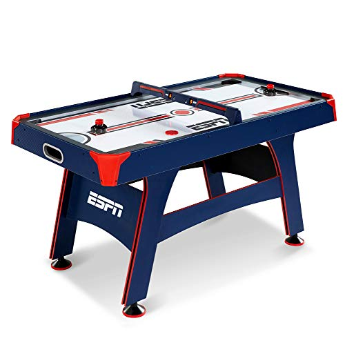 ESPN 5 Ft. Air Hockey Table with Overhead Electronic Scorer and Pucks & Pushers Set Family Indoor Game, Blue/Red from ESPN 5 Ft. Air Hockey Table