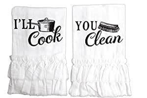 "Bundle of 2 Lillian Rose Couple Ruffle Towels - ""I'll Cook"" & ""You Clean"" Decorative Towels"