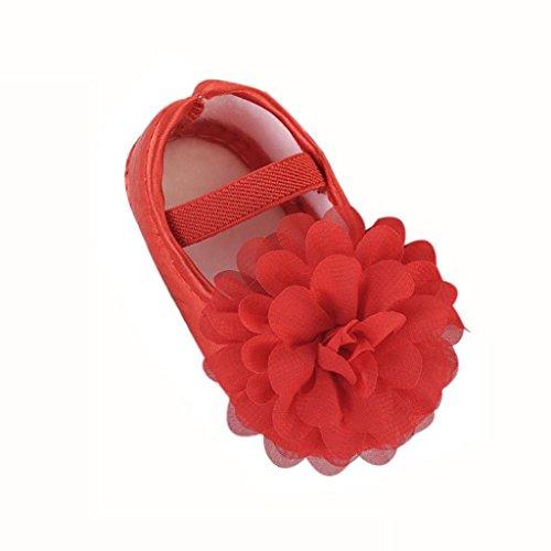 Creazrise Toddler Kid Baby Girl Chiffon Flower Elastic Band Newborn Walking Shoes (M:6-12 Month, Red)