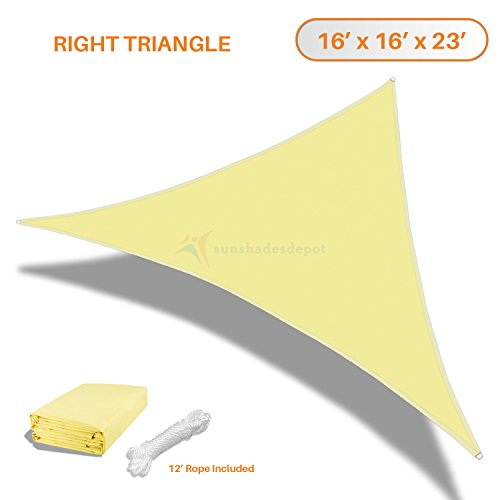 Sunshades Depot 16 x16 x23 FT Right Triangle Waterproof Knitted Shade Sail Curved Edge Canary Yellow 220 GSM UV Block Shade Fabric Pergola Carport Awning Canopy Replacement Awning
