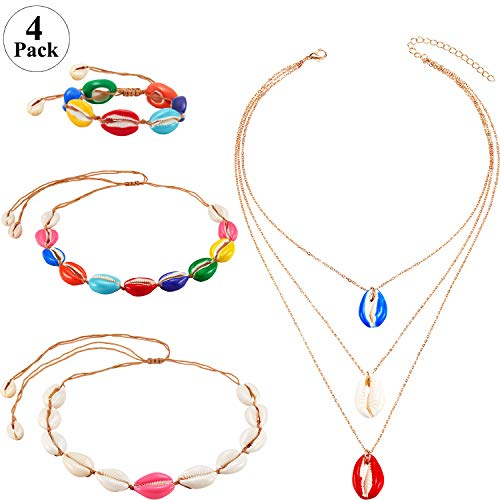 Hicarer Shell Jewelry Set, Include 3 Pieces Shell Necklace Choker Adjustable Shell Necklace and Shell Bracelet for Women Girls