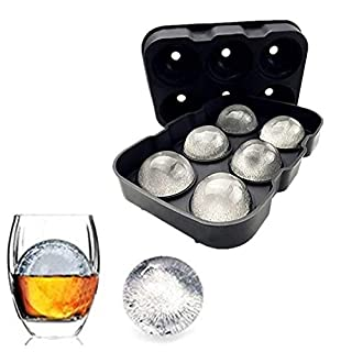 Silicone Ice Cube Trays Combo Round Ice Ball Spheres Ice Cube Tray Mold (6 Round Ice Ball BlackSpheres)