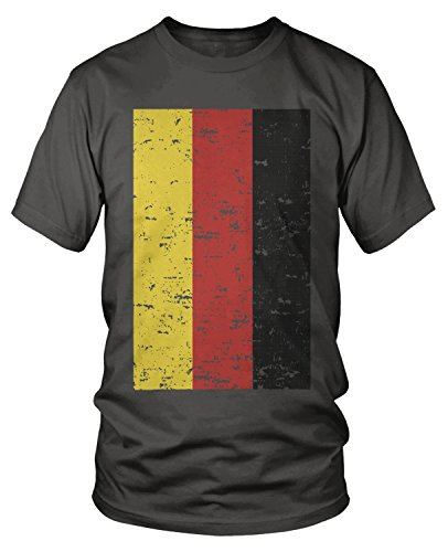 Amdesco Men's Deutschland Germany Flag Faded Vintage German Flag  T-Shirt, Charcoal Grey Small
