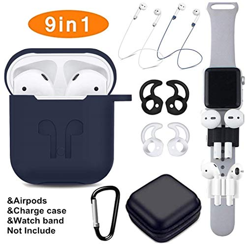 Airpods Case, Airpods Accessories Set,9 in 1 Protective Silicone Cover and Skin Compatible Apple Airpods with Anti-Lost Airpods Strap,Airpods Ear Hook/Watch Band Holder/Keychain/Carrying Box (Blue)