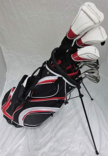 TaylorMade Mens Left Handed Taylor Made Golf Set - Complete Driver, Fairway Wood, Hybrid, Irons, Putter, Clubs Stand Bag Stiff Flex (Used Taylormade Golf Club Sets For Sale)