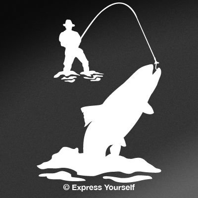 Express Yourself Products Spring Creek Rainbow Trout (White - Image Facing as Shown - Medium) Decal Sticker - Freshwater Fish Collection