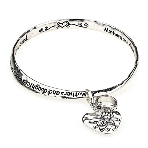 Inspired Silver Beautiful Mother Daughter Twisted Mobius Style Bracelet with Heart Charm White Metal