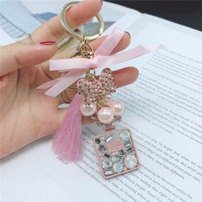 Key Chains - Vintage Crystal Rhinestones Perfume Bottle Keychain Fashion Multicolor Plated Key Chain Ring Holder Women Bag&car Accessories - by Mct12-1 PCs (Platinum Crystal Wine Glass)