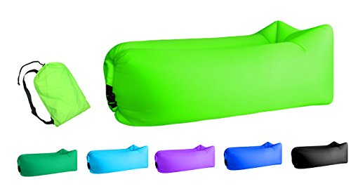 Jsutyer Inflatable Lounger Portable Air Couch, Air Sofa Bag, Indoor or Outdoor Inflatable Chair, Ideal for Child, Inflatable Lounge for Camping Beach Park and Backyard (Fresh Green)
