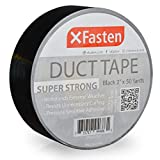 XFasten Super Strength Duct Tape, Black, 2' x 50 Yards, Indoor and Outdoor Duct Tape for School and Industrial Use- Waterproof and Weatherproof