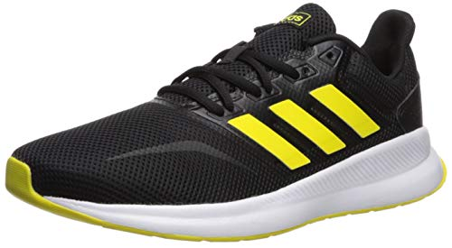 adidas Men's Falcon, Black/Shock Yellow/White, 7 M US (Tennis Mens Yellow Shoes)