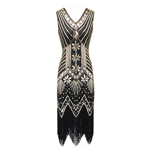 Perman Womens Dress, Vintage 1920s Sexy V Neck Slim Sequin Art Nouveau Embellished Fringed Flapper Dresses for Sale (S, Gold)