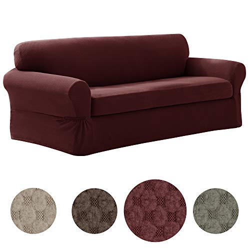 MAYTEX Pixel Ultra Soft Stretch 2 Piece Sofa Furniture Cover Slipcover, Wine - Cushion Sofa Deep