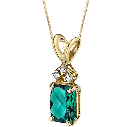 - 14 Karat Yellow Gold Radiant Cut 1.00 Carats Created Emerald Diamond Pendant