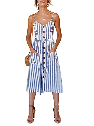 ECHOINE Women Blue White Stripes Midi Dress for Beach with Pockets
