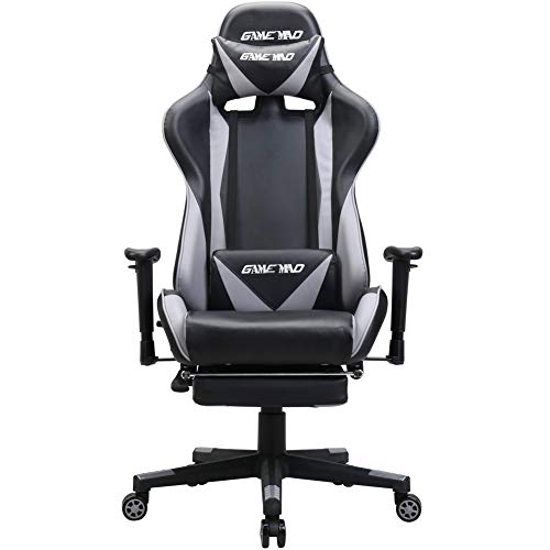 GAMEMAD High Back PU Leather Swivel Gaming Chair with Adjustable Lumbar Support Headrest Racing Office Chair (Black)