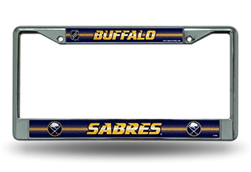 NHL Buffalo Sabres Bling Chrome License Plate Frame with Glitter Accent