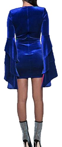 Low CMC XXX Velour Small Stylish Dress Womens Long Pencil Cut Solid Bodycon Sleeve Blue XRr7Xgqw