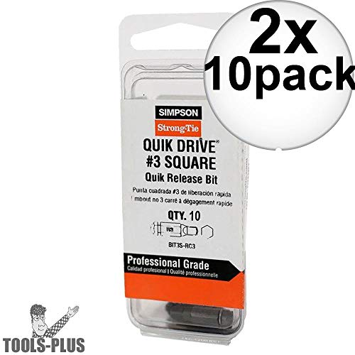 Quik Drive BIT3SU-RC10 10pk #3 Undersized Square Drive Bits 2x 2-Pack