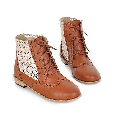 Cómodo y elegante soporte de zapatos de las mujeres pisos primavera verano otoño invierno otros cuero sintético oficina y carrera vestido casual soporte de talón cordones negro marrón amarillo marrón