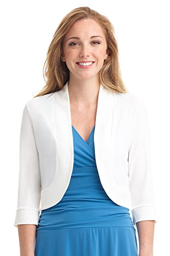 Rekucci Women's Soft Knit Rounded Hem Stretch Bolero Shrug (Medium,Off White) - White Jacket Dress
