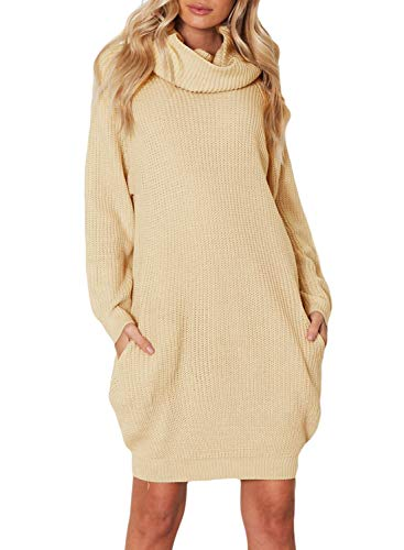 ZKESS Womens Casual Long Sleeve Turtleneck Knit Sweater Chunky Oversized Pullover Jumper Dress with Pockets Khaki S 4 6 Chunky Knit Sweater Dress