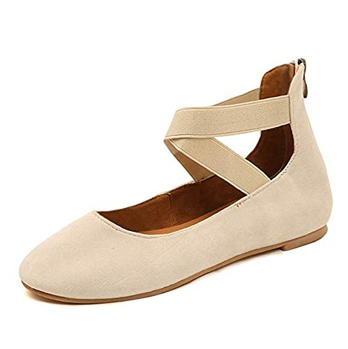 (Minetom Womens Ballerinas Dolly Flats Shoes Ankle Elastic Strap Ballet Flats Stretchy Comfortable Slip On Closed Toe Loafers Beige 7 M US)