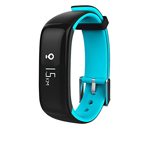 Kassica Health Fitness Tracker with Heart Rate Monitor and Blood Pressure Sports Smart Wristband Pedometer Smart Bracelet Bluetooth Smart Watch for IOS IPhone Android Samsung Phones (Light Blue)