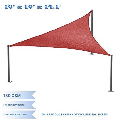 E&K Sunrise 10' x 10' x 14' Right Triangle Sun Shade Sail, Shade Fabric Cover Backyard Deck Sail Canopy UV Block - Rust Red - 10' Deck Scrub Brush