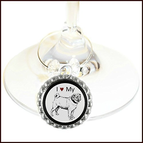 Dog Gifts - Dog Wine Charms - Glass Tag Identifiers - Pugs, Collies, Dachshund, Chihuahua, Bulldog, Boxer, Terrier, Beagle, Cocker Spaniel, Springer, 6 wine charms Beagle Springer Spaniel