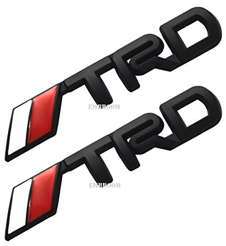 2Pcs TRD Emblems, 3D Plastic Logo Stickers Decals Badge Replacement for Fj Cruiser,Supercharger Tacoma,Tundra,Toyota,Yaris,Camry Corolla (Black -