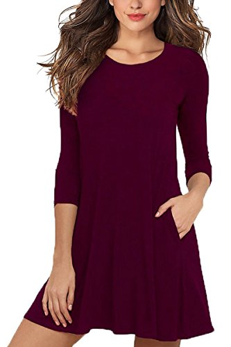 AOMINGGE Casual Dress, Women's 3/4 Sleeves Round Neck A-line Tunic T shirt Dresses Tops with Pockets