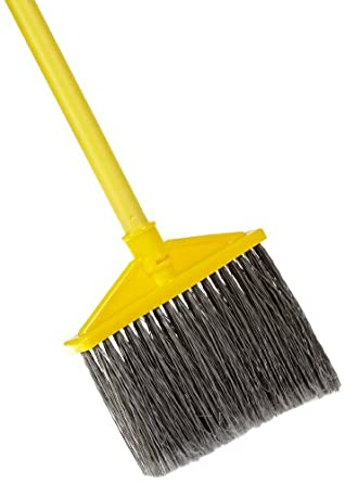 Rubbermaid Commercial Brute Angled Large Broom,  Polyethylene Bristles, 46-7/8 Inch Metal Handle, Yellow/Gray (6375-00GY)