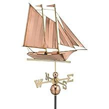 "25"" Luxury Polished Copper Nautical Schooner Sailboat Weathervane"