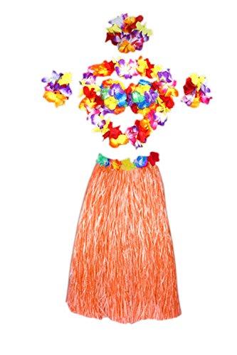 Elastica 6 Gonnellino Pezzi Costume Floreale Donne Hawaiano Arancione Jumojufol Erba w6FqIBAWB