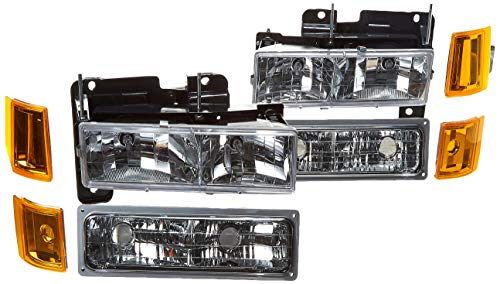 Xtune HD-JH-GCK94-AM-C-SET Headlight (4-99 / Chevy Suburban 94-98 / GMC Yukon 94-99 ( Not Compatible With Seal Beam ) s W/ Corner & Parking Lights 8pcs sets -Chrome)
