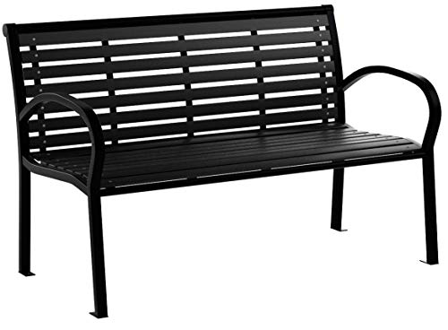 "Festnight 3-Seater Outdoor Patio Garden Bench Porch Chair Seat with Steel Frame Solid Construction 49"" x 24"" x 32"" (3 Seater)"