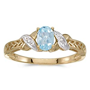 0.30 Carat ctw 10k Gold Oval Aqua Aquamarine & Diamond Crossover Infinity Antique Promise Fashion Ring
