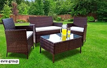 Evre Home u0026 Living Rattan Garden Furniture Set Patio Conservatory Indoor Outdoor 4 piece set table & Evre Home u0026 Living Rattan Garden Furniture Set Patio Conservatory ...