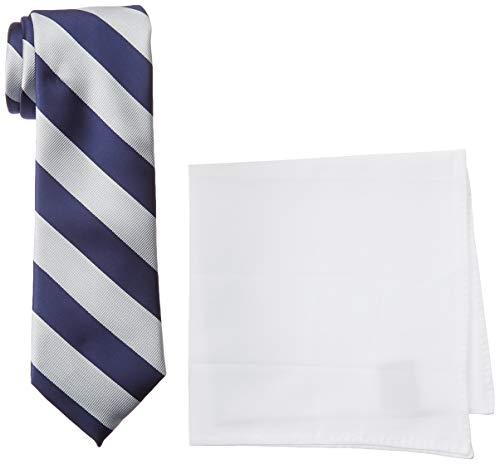Nautica Men's Stripe Tie & Pocket Square Set, Navy, One -