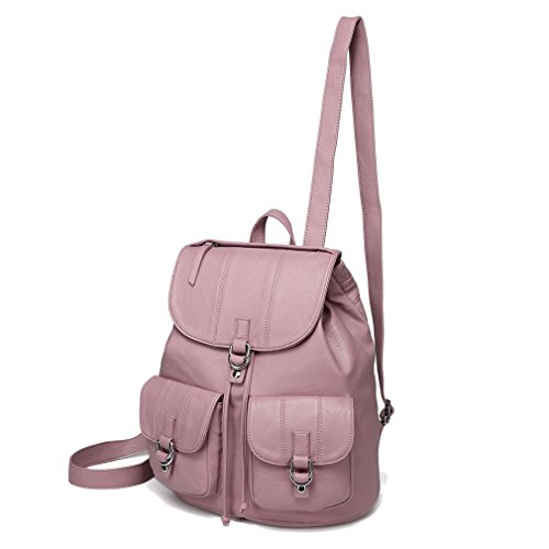 - Mini Backpack Purse for Women,VASCHY Fashion Faux Leather Buckle Flap Drawstring Backpack for College with Two Front Pockets Pink