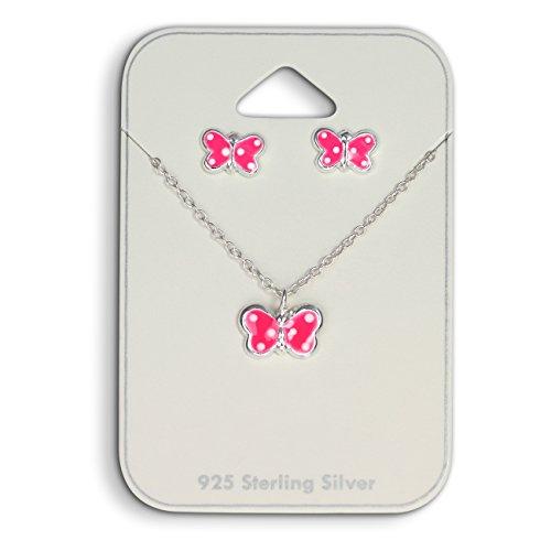 Teenie Weenie Niños joyas mariposa rosa pendientes y cadena 925plata niña sds807