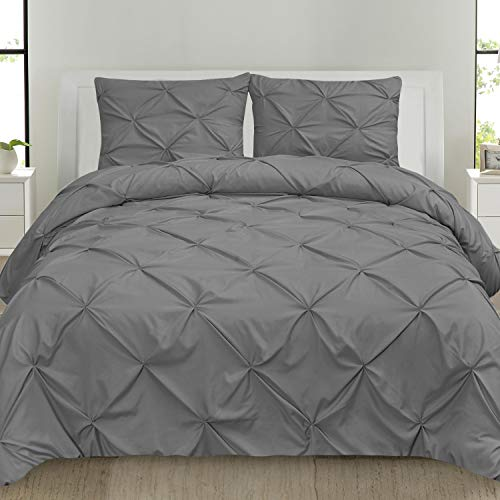 (Sweet Home Collection 3 Piece Luxury Pinch Pleat Pintuck Fashion Duvet Set, Queen, Gray)