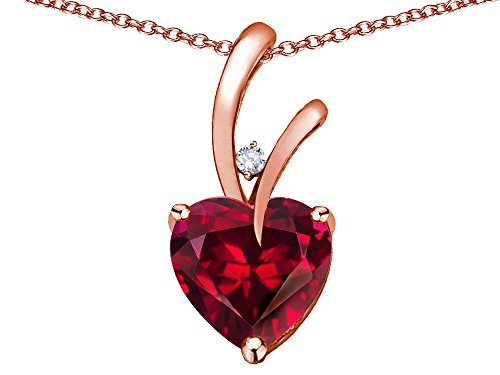 Star K Heart Shape 8mm Created Ruby Endless Love Pendant Necklace 10 kt Rose Gold ()