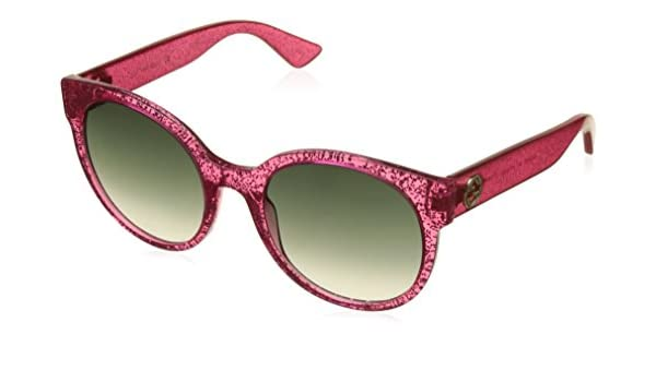 b66f4bd49e40 Amazon.com: Authentic GUCCI GG0035S - 005 Pink /Fuchsia Glitter Sunglasses  w/ Green Gradient Lens 54mm: Clothing