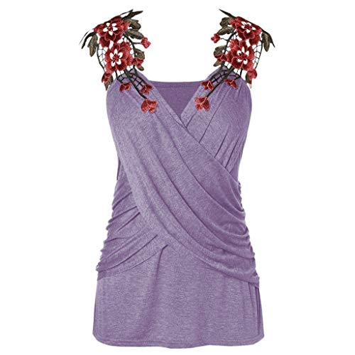 (Vests for Women Shusuen Elegant Cross Camisole Embroidery Appliques Strap Sleeveless Casual Tank T-Shirt Vest Top Purple)