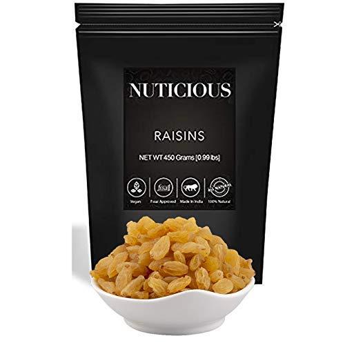 NUTICIOUS Natural Premium Raisins (Kishmish)-450 gm (Gourmet Vegan Food Premium Quality)