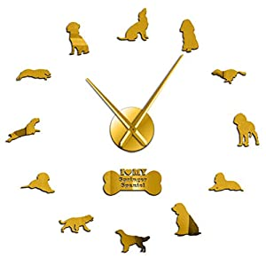 Haolc 37 Inch English Springer Spaniel Dog Breed Modern 3D Wall Clock with Different Postures Mirror Numbers Stickers Pet Shop Wall Art Decor 1