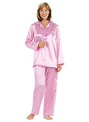 Carol Wright Gifts Brushed-Back Satin Pajamas, Color Pink, Size Medium Petite, Pink, Size Medium ()