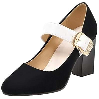 Melady Women Fashion Mary Janes Pumps Heels Buckle Court Shoes Belt Block High Heels Party Shoes Heels Autumn Shoes Suede Black Size 32